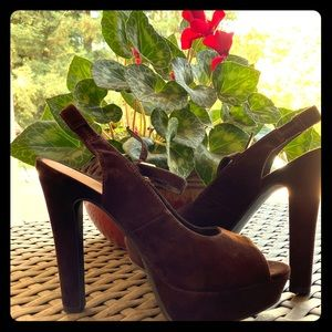 Lauren Conrad Suede brown platform strapped heels
